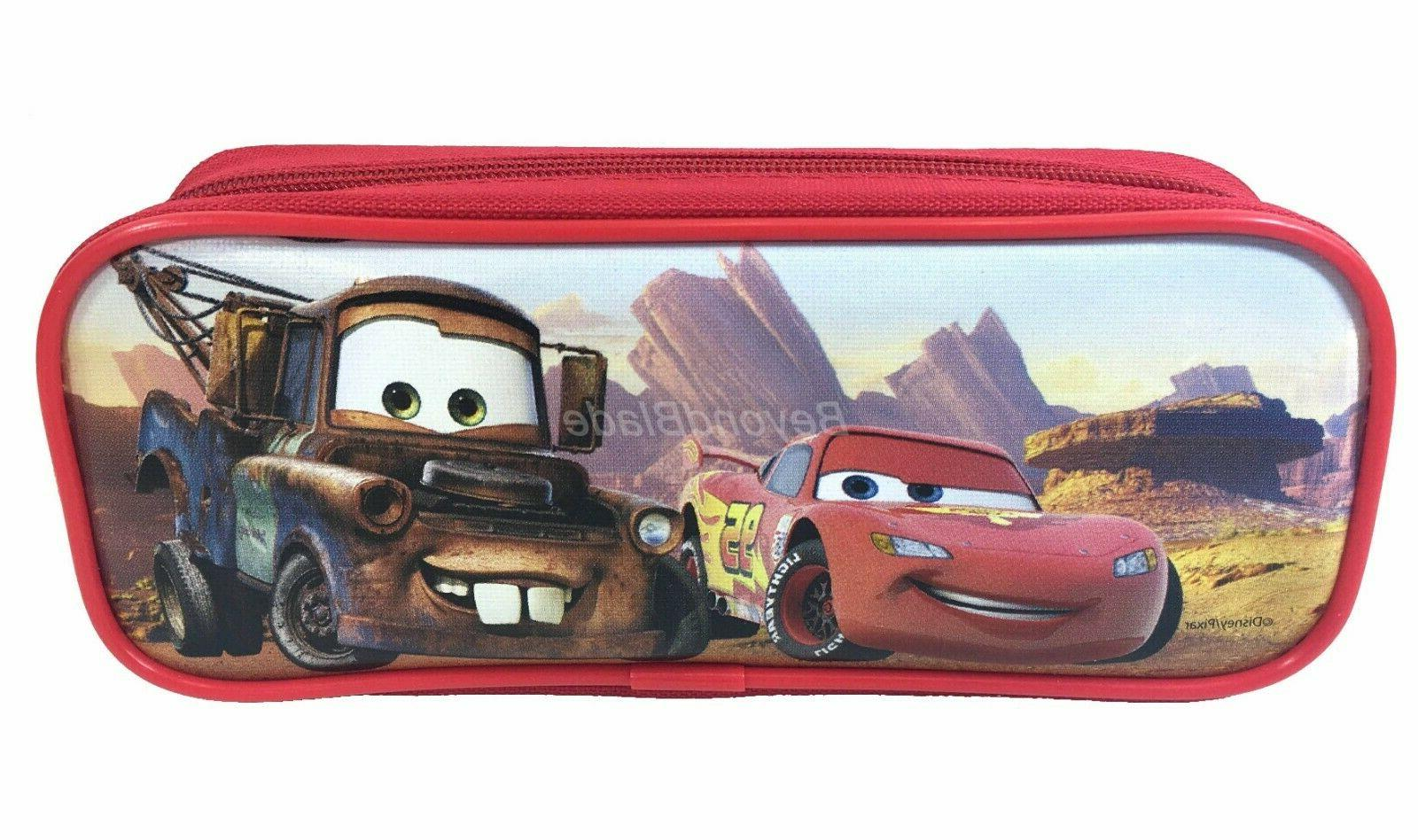Disney Cars Red Pencil Pouch Zippered Pencil Case Authentic
