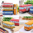 Cartoon Pen Pencil Case Bag Box Bus Canvas Storage Large Zip