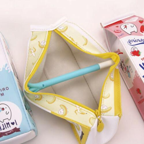 Creative Milk Box Pen Pencil Pouch Makeup Toiletry
