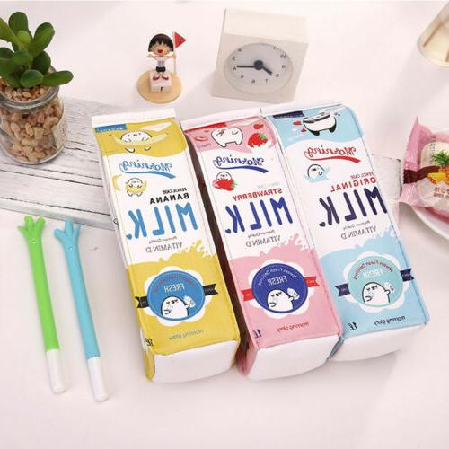 creative cute milk box pen pencil case