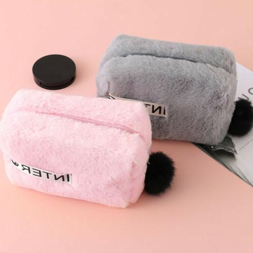 Cute Plush Case Fur Ball For Girl Stationery