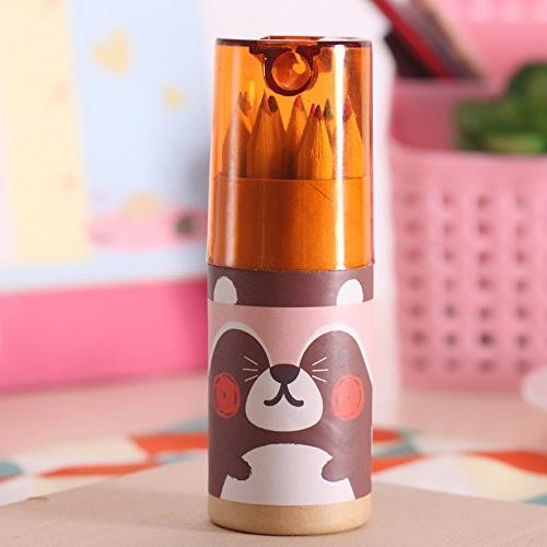 Mziart Cute Bear Mini Colored Pencils with Sharpener, Portable, Count Tube