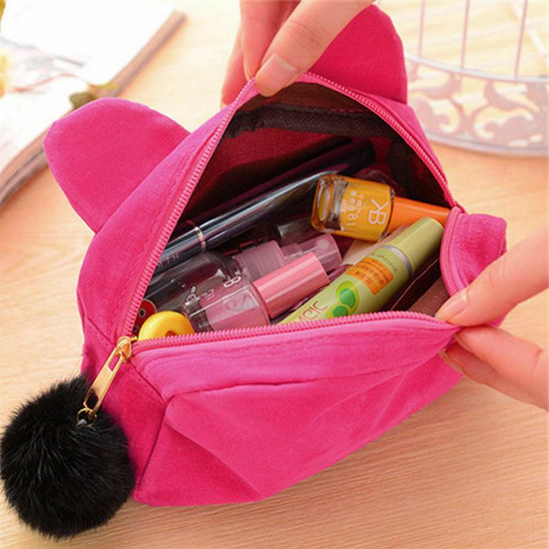 Cute Flannel Cosmetic Cartoon Cat Pen Pencil Pouch