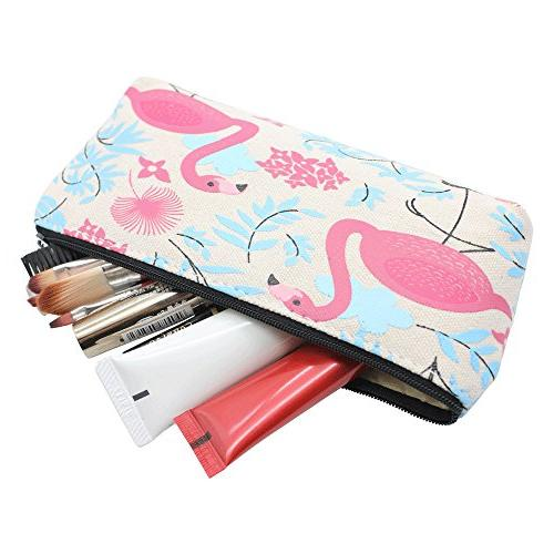 Mziart Cute Fruit and Flamingo Holder Pen Case Stationery Makeup with Set of 3