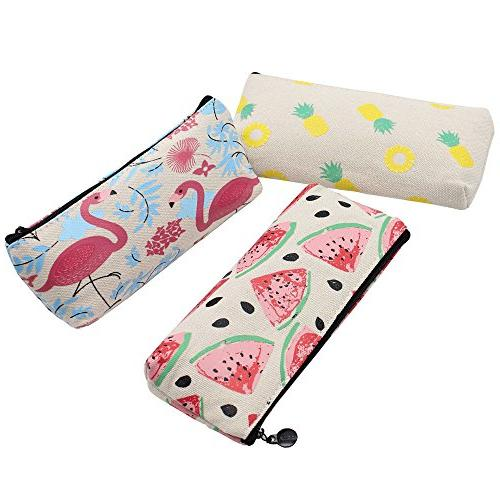 Flamingo Canvas Pencil Makeup Cosmetic Pouch Bag with Zipper, 3
