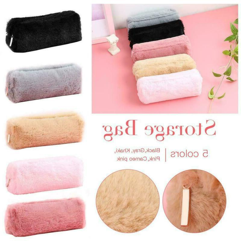 Girl Cute Plush Fuzzy Fluffy Pencil Case Makeup Pouch Coin P
