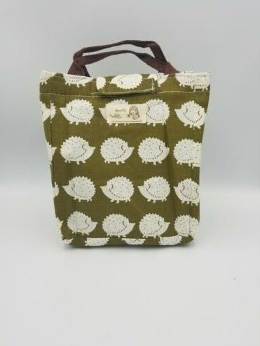 cute reusable cotton lunch bag insulated tote