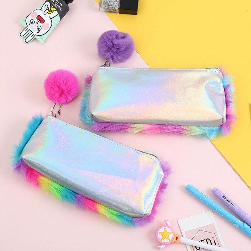 Cute School Plush Pencil Case for Girls Large Stationery