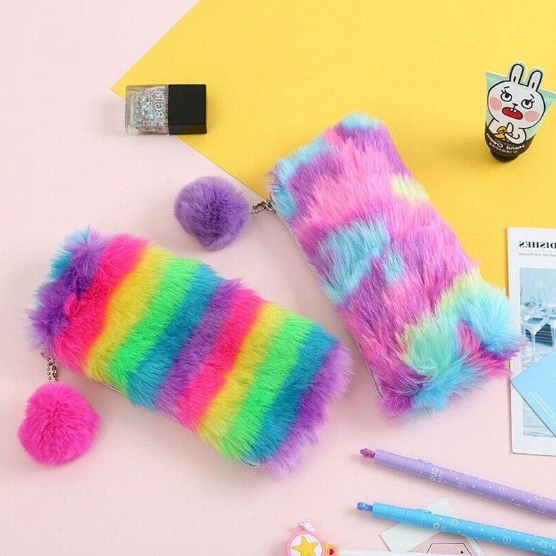 cute school plush rainbow pencil case