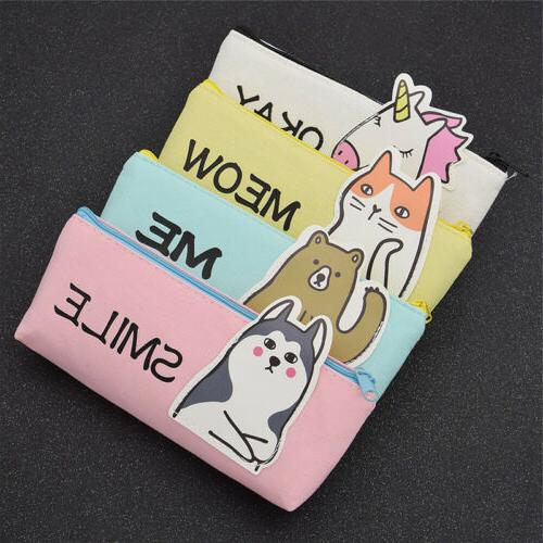 Cute Unicorn Cat Bear Dog Pencil Case Women Travel Cosmetic