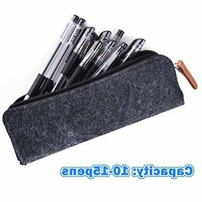 KUUQA Dark Gray Pen Pencil Case Pouch Bag Cosmetic Bags Set of 2