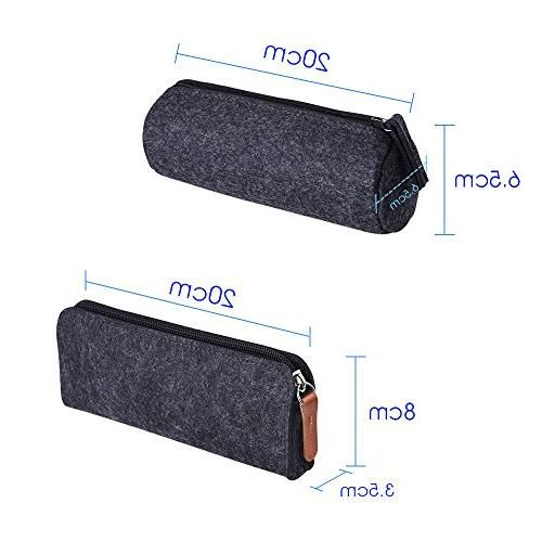 KUUQA Gray Pen Pencil Pouch Case Cosmetic Bags,