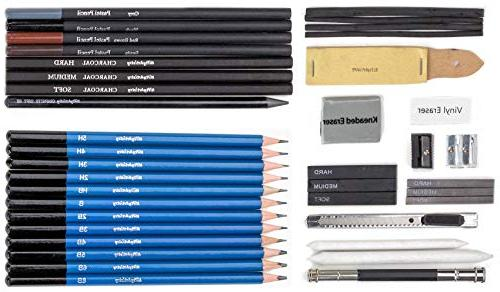 Drawing Sketching Set in Zippered Carrying Compact, 40-Piece Kit with Pastels, Graphite and Charcoal Sticks