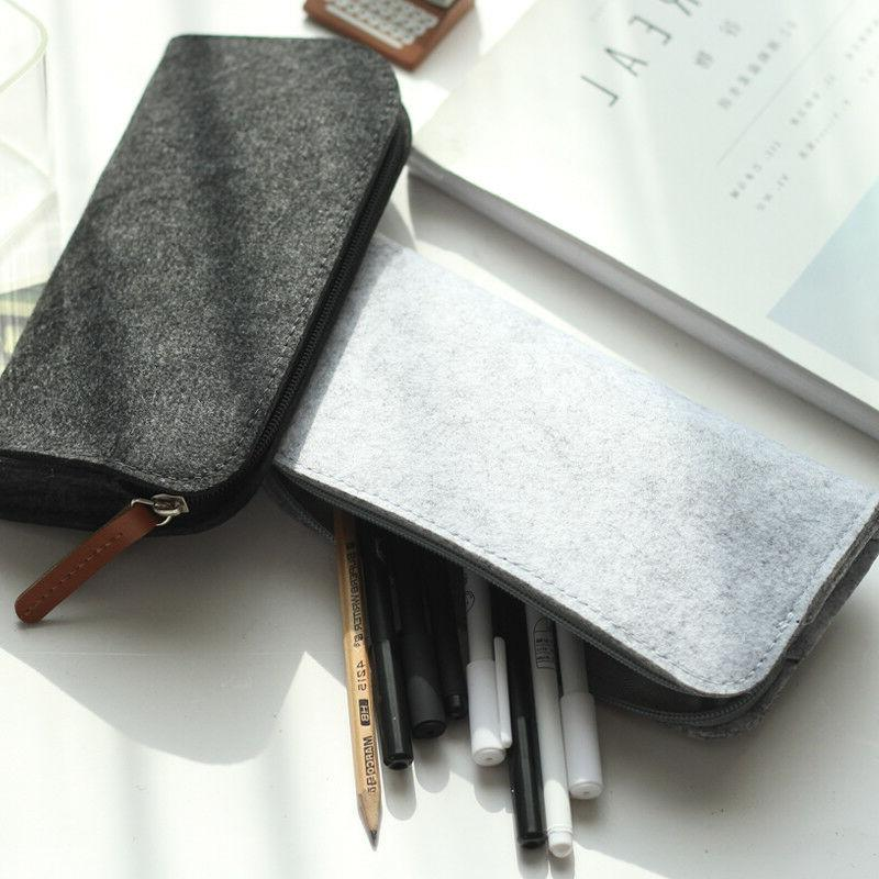 Felt Pencil Case Fabric for Supplies Stationery Office Bag