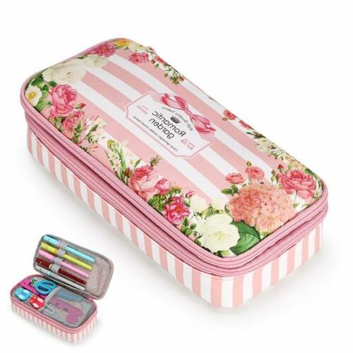 floral pencil case high capacity double layers