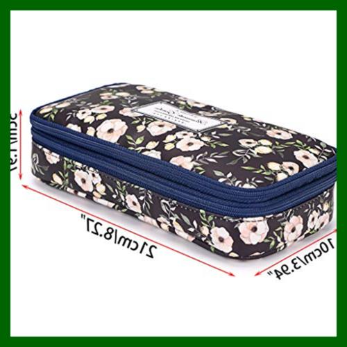 BTSKY Floral W Compartments High Double Pouch Statio