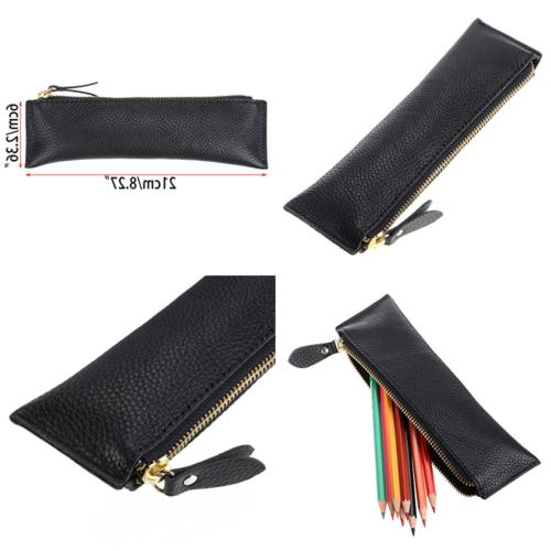 genuine leather pencil case zippered pen stationery