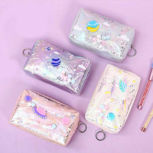 Cute Laser Leather Makeup Bag For
