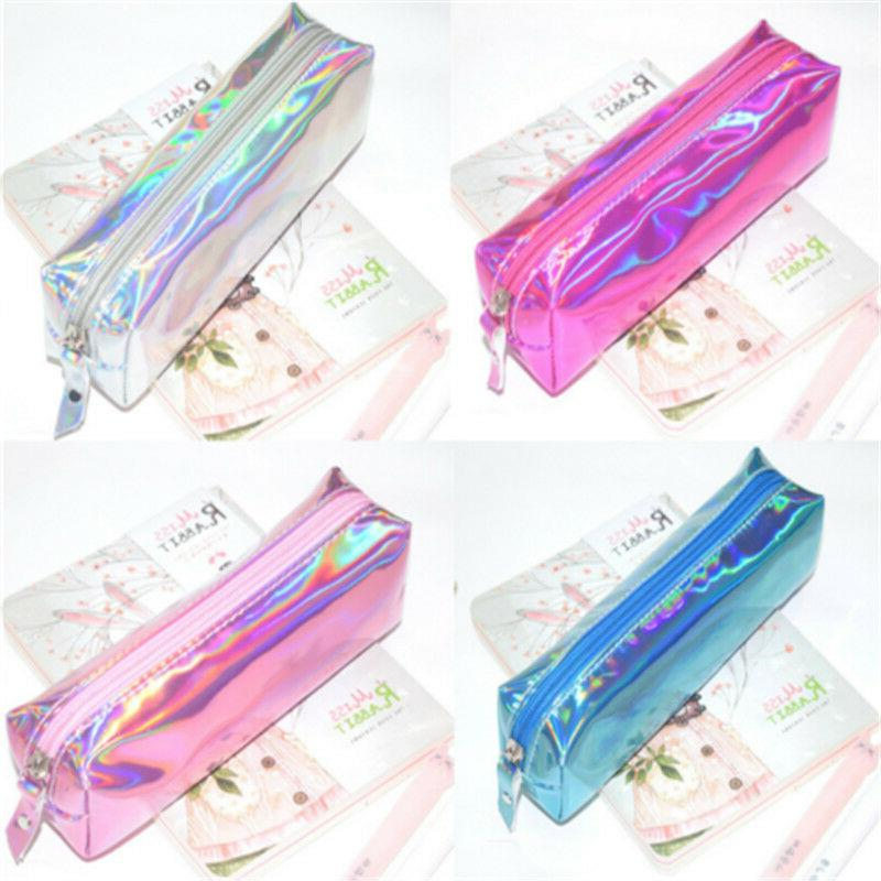 holographic zip stationery pencil case cosmetic bag