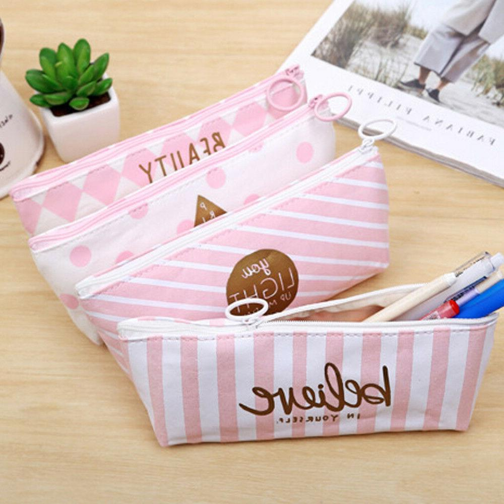 HOT Pen Case Holder Students Canvas Bag Pouch