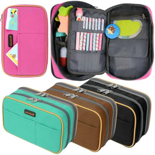 2 Layers Capacity Pencil Pen Case Travel Makeup Storage Hold
