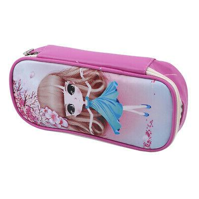 Large Capacity Case Bags Cartoon Leather Pencil Girls