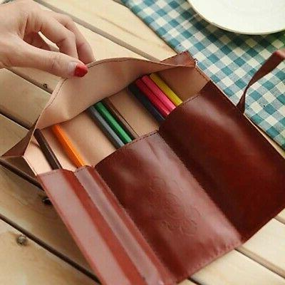 Leather Stationery Shell Pen Organizer Pouch Bag Storage
