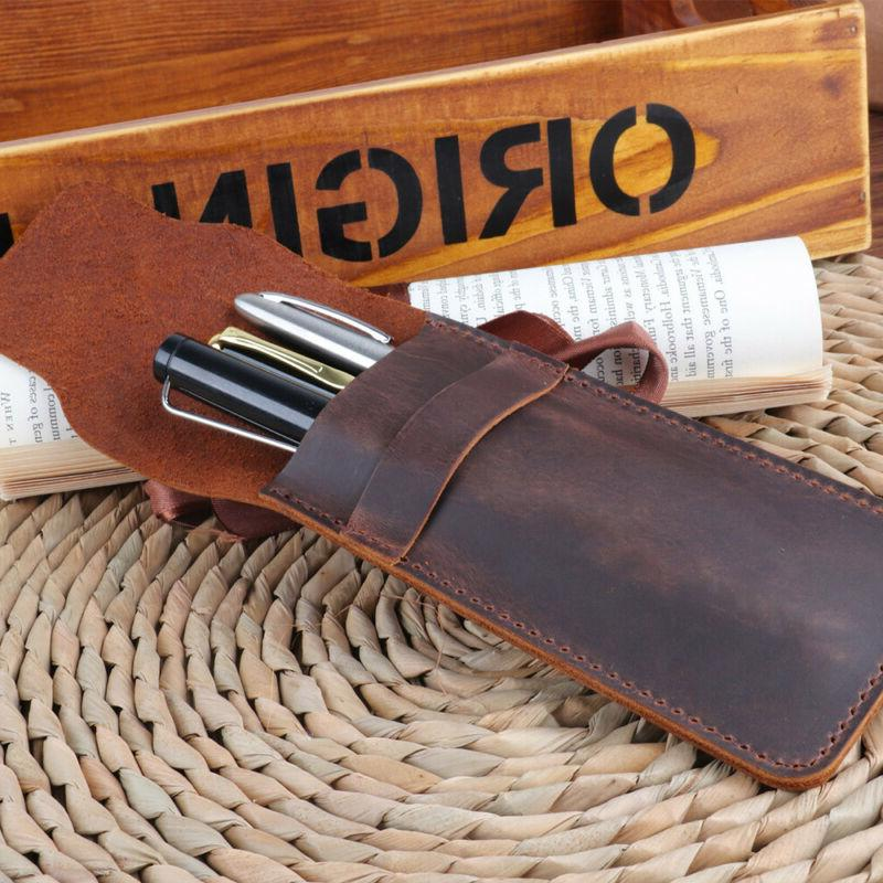 Leather Pencil Storage Pouch Bag Holder Supplies