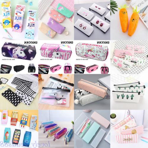 Lots Pencil Case Pen Pouch Box Bag Cases School Office Suppl