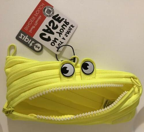monster pencil case neon yellow