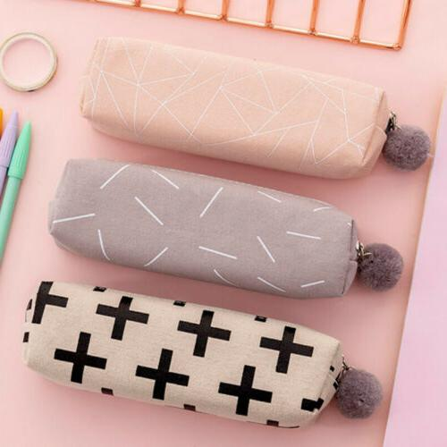 Cute Canvas Plush Ball Case Bag Stationery Gifts