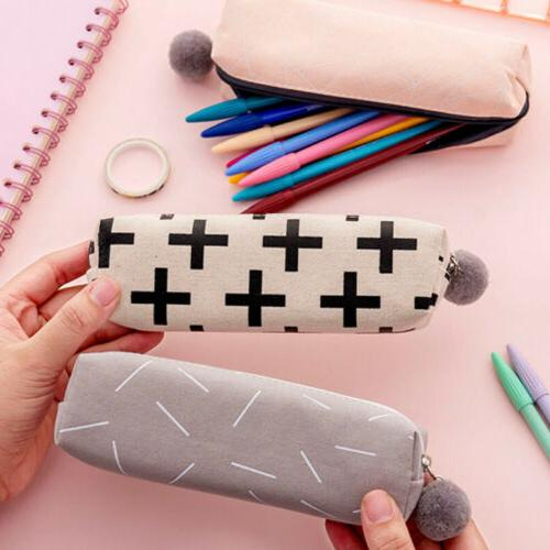 Cute Girls Plush Ball Pencil Case Cosmetic Bag Pouch Gifts