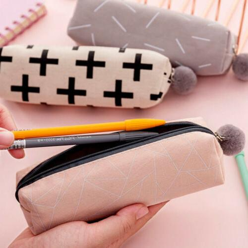 Cute Canvas Ball Case Bag Stationery Pouch Gifts