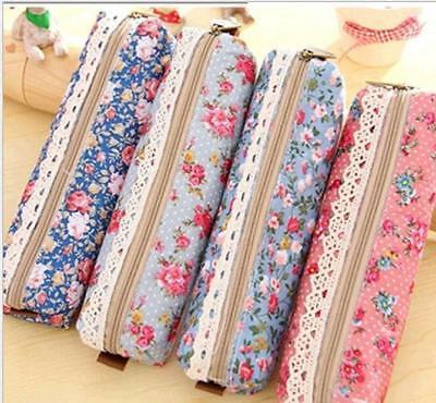 new school students pencil case flower womens