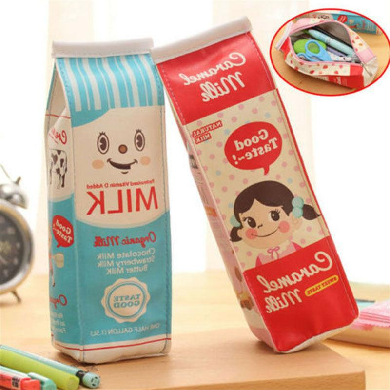 Creative Simulation Milk Cartons PU Pencil Case Kawaii Stati