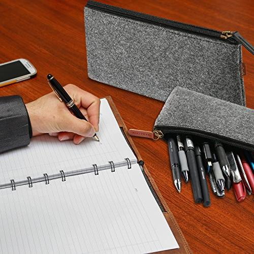ProCase Pencil Bag Case, Pouch Zipper Bag for Pens, Pencils, Gel Pen, Eraser Other Pack, Black
