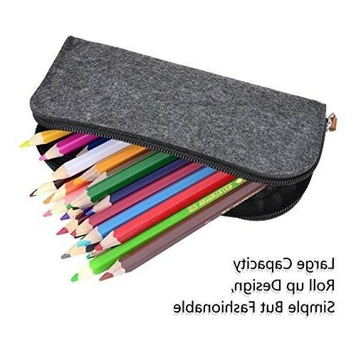 Pencil 3 Pack Pen Holder Cosmetic Pouch Bag Dark Grey