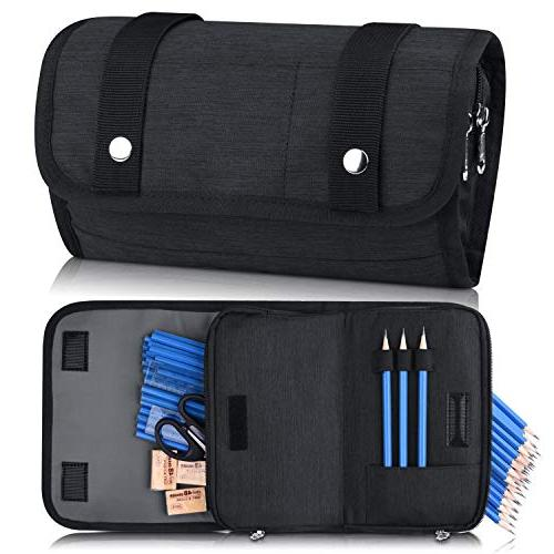 Pencil Pencil for Student Office College High Pouch Zipper-Black