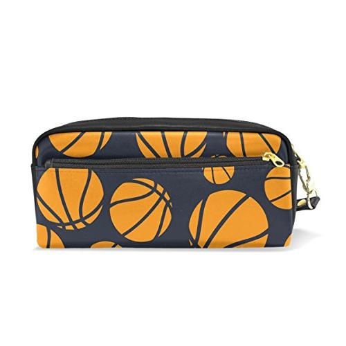 pencil case dark blue orange