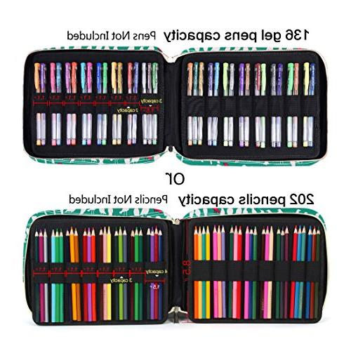 qianshan Slot 202 Pencils 136 Pens with - Capacity Organizer & Markers for & Green