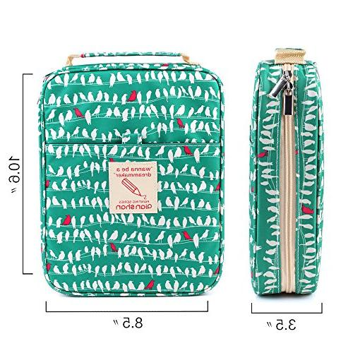 qianshan Pencil Case Slot -Holds 202 Pencils or Pens with - Large Organizer Watercolor & Markers Students & Artist Green