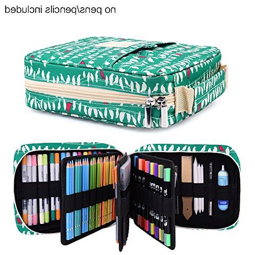 qianshan Pencil Case Holder Slot 202 Colored Pencils Pens with Zipper - Large Capacity Organizer for & Markers Students & Green