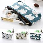 Pencil Case Make Up Bag Fat Animal Linen Canvas Fabric Lined