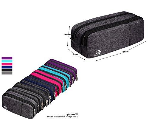 Large Pencil Supplies - Office Stationary Bag Zippers Multi Big Capacity Compartments for Girls Boys