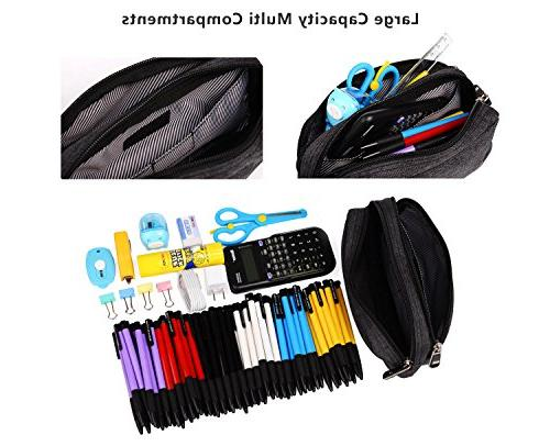 Large Pencil Supplies Office Pen Holder Stationary Bag Double Zippers Multi Big Compartments Boys