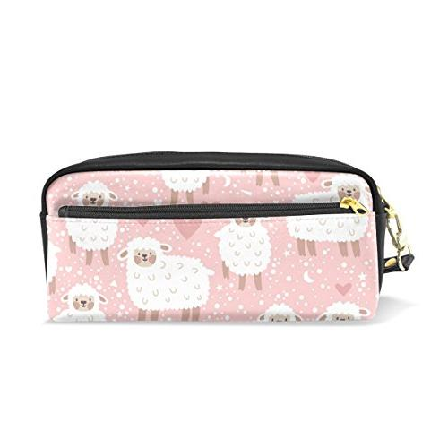 pencil case sheep pink leather