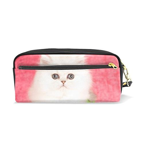 pencil case white little kitten