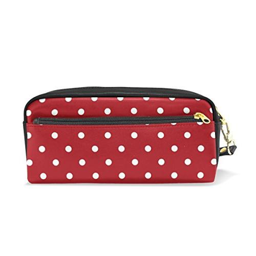 pencil case white polka dot