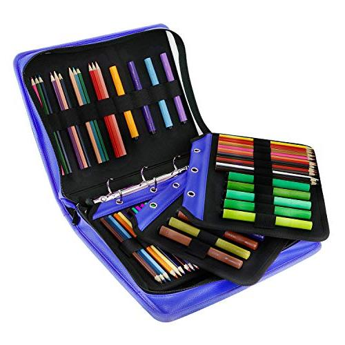 YOUSHARES Gel Large Flexible Slot - PU Leather Case with Zipper 180 140 for Pencils, Pens(Blue)