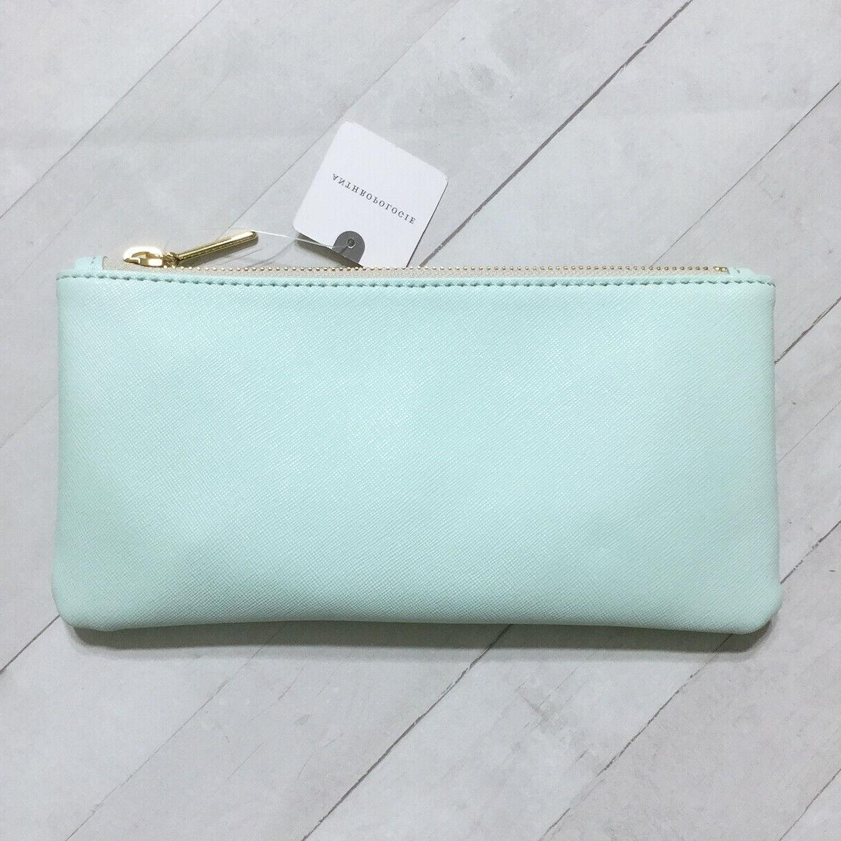 Anthropologie Pencil Cosmetic Sea Green Gold Faux Leather
